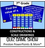 (7th) Quiz Show Game Constructions and Scale Drawings in a PowerPoint