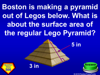 (7th) Quiz Show Game Surface Area and Volume in a PowerPoint Presentation