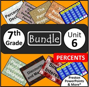 (7th) Percents {Bundle} in a PowerPoint Presentation