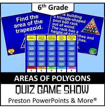 (6th) Quiz Show Game Area of Polygons in a PowerPoint Presentations