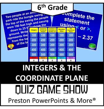 (6th) Quiz Show Game Integers and the Coordinate Plane in a PowerPoint