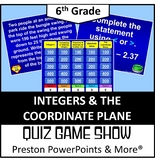 (6th) Quiz Show Game Integers and the Coordinate Plane in