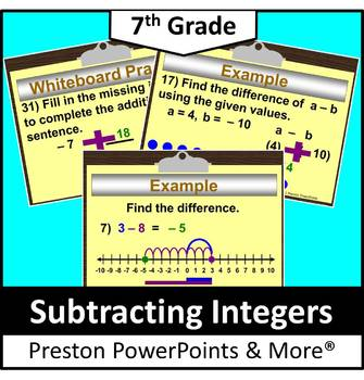 (7th) Subtracting Integers with a Number Line in a PowerPo
