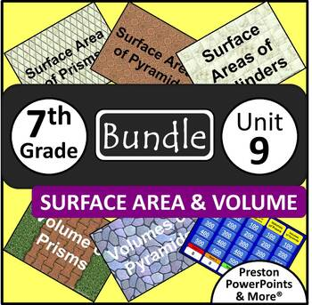(7th) Surface Area and Volume {Bundle} in a PowerPoint Pre