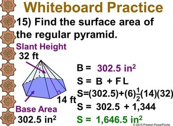 (7th) Surface Areas of Pyramids in a PowerPoint Presentation