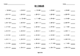 (8 x) Eight Multiplication/Times Tables Drill/Mental Maths Worksheets/Booklet