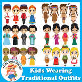 Kids wearing Traditional Outfits Clip Art Bundle, Kids Clipart