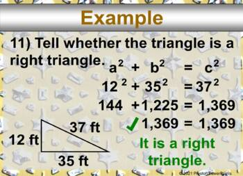 (8th) (Distance Formula) Using the Pythagorean Theorem in a PowerPoint