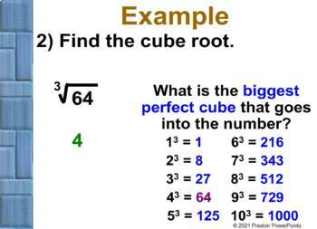 (8th) Finding Cube Roots in a PowerPoint Presentation