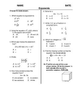 (8th Grade) Exponents QUIZ