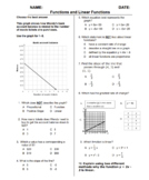 (8th Grade) Functions and Linear Functions QUIZ