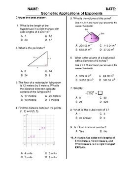 (8th Grade) Geometric Applications of Exponents QUIZ