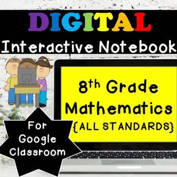 ⭐8th Grade Math Interactive Notebook, Google Classroom⭐Distance Learning