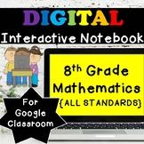 8th Grade Math Digital Interactive Notebook ⭐Google Classroom Distance Learning