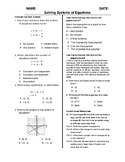 (8th Grade) Solving Systems of Equations QUIZ