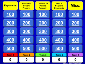 (8th) Quiz Show Game Exponents in a PowerPoint Presentation