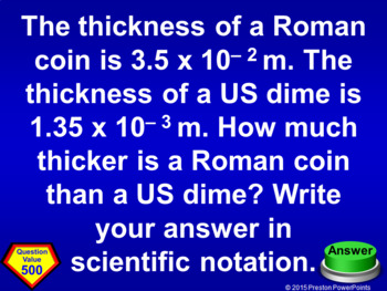 (8th) Quiz Show Game Scientific Notation in a PowerPoint Presentation