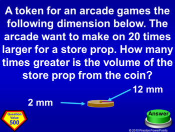 (8th) Quiz Show Game Volume and Similar Solids in a PowerPoint Presentation