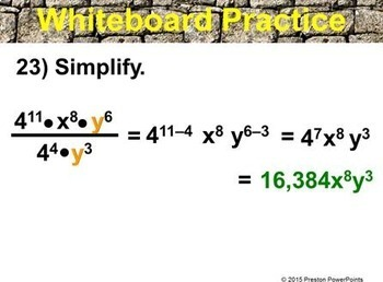 (8th) Quotient of Powers Property in a PowerPoint Presentation