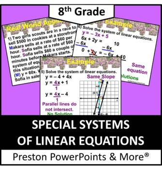 (8th) Solving Special Systems of Linear Equations in a PowerPoint Presentation