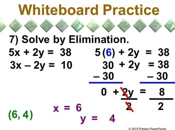 (8th) Solving Systems of Linear Equations by Elimination in a PowerPoint