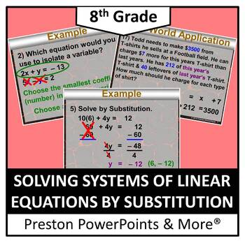 (8th) Solving Systems of Linear Equations by Substitution in a PowerPoint