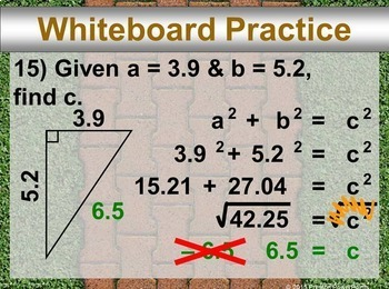 (8th) The Pythagorean Theorem in a PowerPoint Presentation