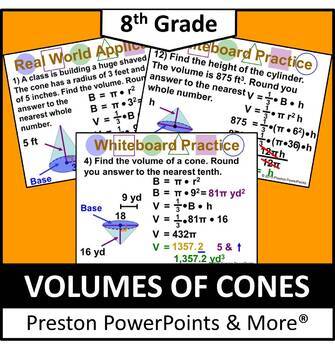 (8th) Volume of Cones in a PowerPoint Presentation