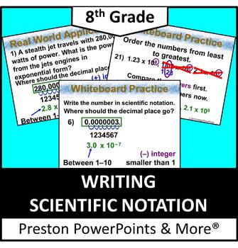 (8th) Writing Scientific Notation in a PowerPoint Presentation