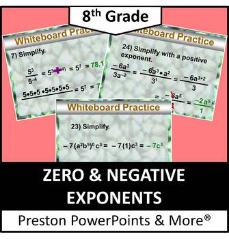 (8th) Zero and Negative Exponents in a PowerPoint Presentation