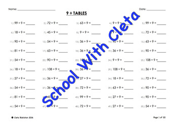 (÷9) Simple Division By Nine Mental Maths / Drill Worksheets / Booklet