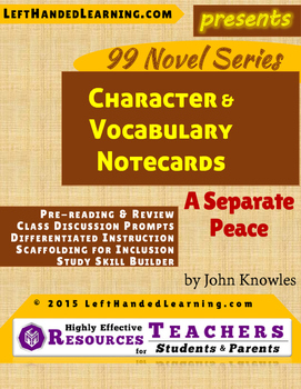 {99 Novel} A Separate Peace by John Knowles Character & Vocabulary notecards