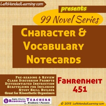 {99 Novel} Fahrenheit 451 by Ray Bradbury Character & Voca