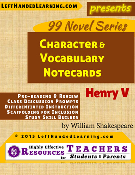 {99 Novel} Henry V by William Shakespeare Reference Notecards