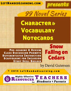 {99 Novel} Snow Falling on Cedars by David Guterson Character & Vocabulary cards