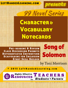 {99 Novel} Song of Solomon by Toni Morrison Character & Vocabulary Notecards