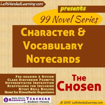 The chosen teaching resources teachers pay teachers novel the chosen by chaim potok character vocabulary notecards fandeluxe Gallery