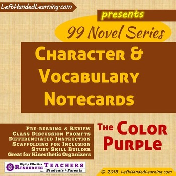 {99 Novel} The Color Purple by Alice Walker Character & Vocabulary notecards