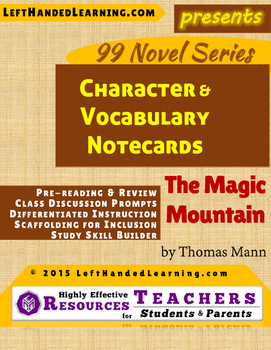 {99 Novel} The Magic Mountain by Thomas Mann Character Notecards