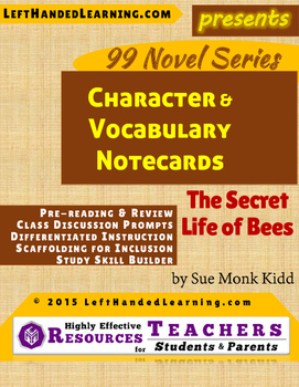 {99 Novel} The Secret Life of Bees by Sue Monk Kidd Reference Notecards