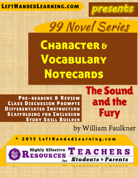{99 Novel} The Sound and the Fury by William Faulkner Reference Notecards