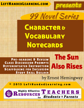 {99 Novel} The Sun Also Rises by Ernest Hemingway Character & Vocab Notecards