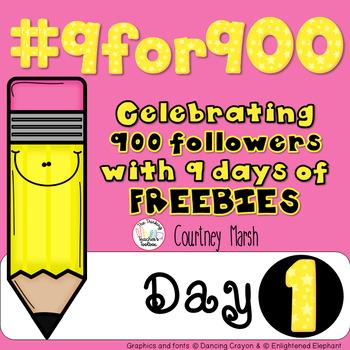 #9for900 FREEBIE Celebration Day 1