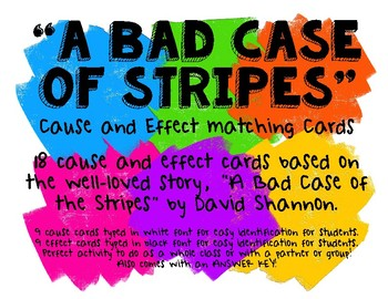 """A Bad Case of Stripes"" Cause and Effect Cards"