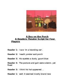 """Tribute to Lewis Hine, """"A Boy on the Porch,"""" A Readers Theater Script"""