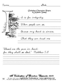 """A Celebration of Christian Character"" Cursive Penmanship (KJV)"