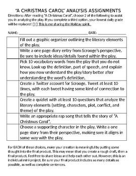 """A Christmas Carol"" Choice Assignment"