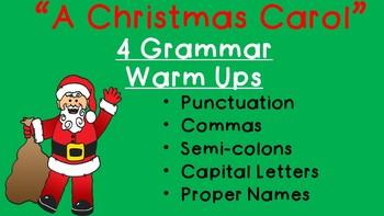 """A Christmas Carol"" Grammar Warm Ups- 4 sentence practice Sentences"