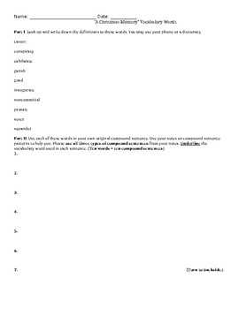 """A Christmas Memory"" Vocabulary Worksheet"