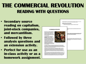"""A Commercial Revolution"" reading with questions - Global/World History"